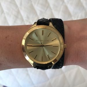Michael Kors Black Leather Wrap Watch Bracelet